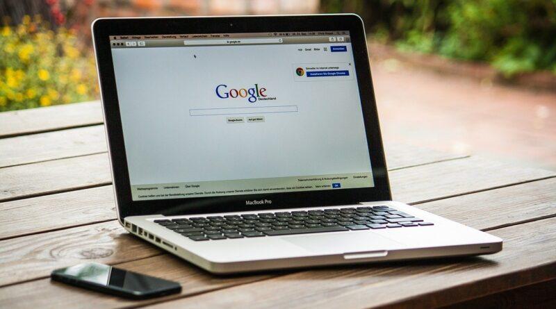 Laptop screen displaying google
