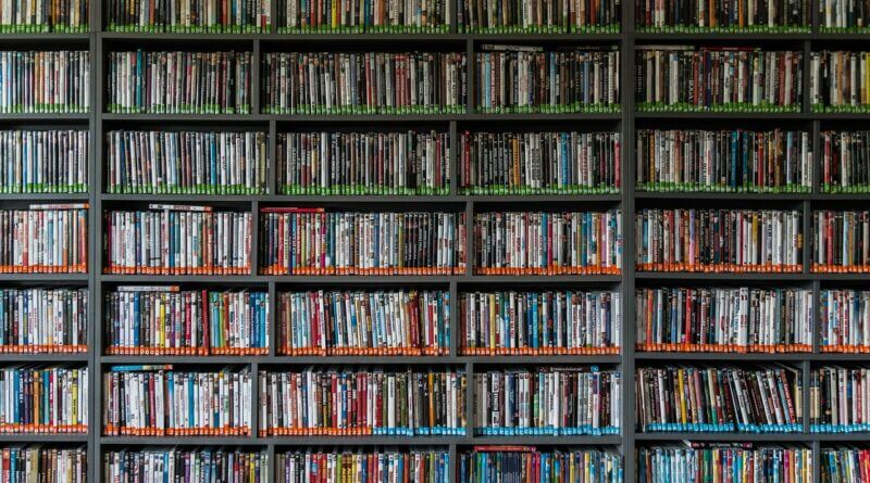 A library of DVDs