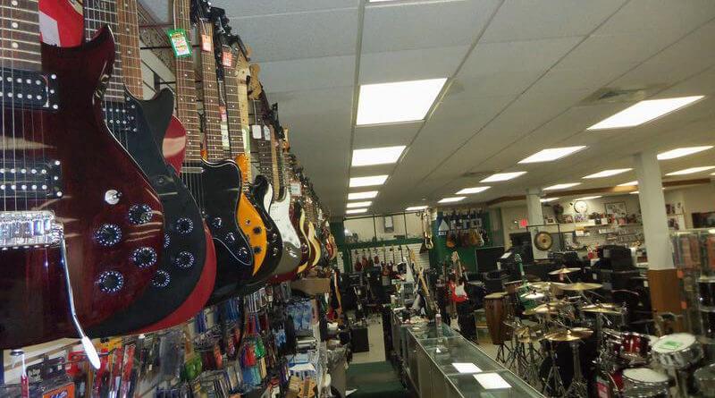 Guitars in a store
