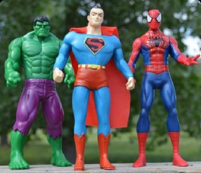 Collection of memorabilia super heroes