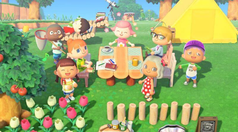 Animal Crossing New Horizons characters hanging out around a table