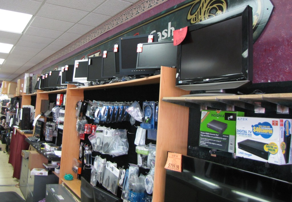 A display of TVs and Electronics
