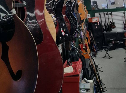 Musical instruments in a store