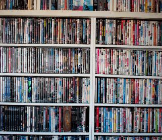 DVDs on shelves