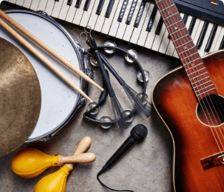 Display of various musical instruments