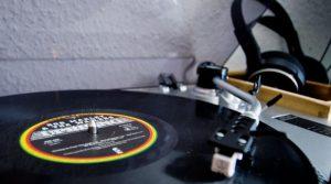 Record player playing a Bob Marley vinyl record