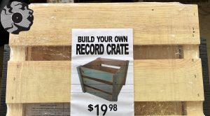 Record head branded record crate
